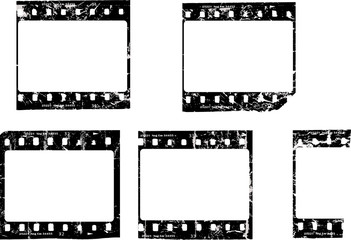 Wall Mural - grungy film negatives, blank picture frames, free copy space, vector