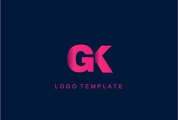 GK Letter Logo Design Vector
