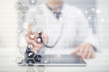 Medical concept on virtual screen. Healthcare. Online medical consultation and health check, EMR, EHR.
