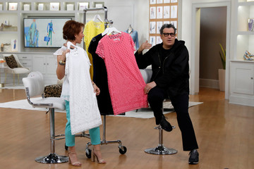 Host Sharon Faetsch and designer Isaac Mizrahi sell products live on the air at the QVC Studio Park in West Chester, Pennsylvania