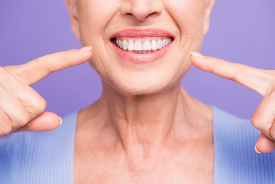 Concept of having strong healthy straight white perfect teeth at