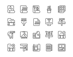 Simple line icon set of Art and Design marketing for website mobile app and more .Editable Stroke.