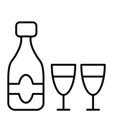 Champagne bottle with two glasses thin line icon. Celebration bottle and glasses vector illustration isolated on white. Glass outline style design, designed for web and app. Eps 10.