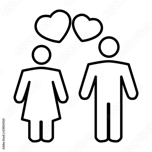 couple in love thin line icon romantic couple and a heart vector Romantic Backgrounds romantic couple and a heart vector illustration isolated on