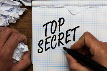 Text sign showing Top Secret. Conceptual photo telling someone important data or information that he cant tell Man holding marker notebook crumpled papers ripped pages mistakes made.