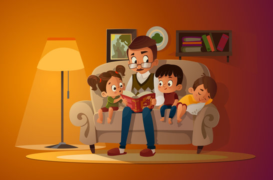 Grandfather sitting with grandchildren on a cozy sofa with the book, reading and telling book fairy tale story. Boys and girl listen to him. Vector cartoon illustration. Cozy family evening.