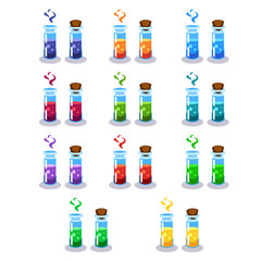 Cartoon bottles with poison in different colors