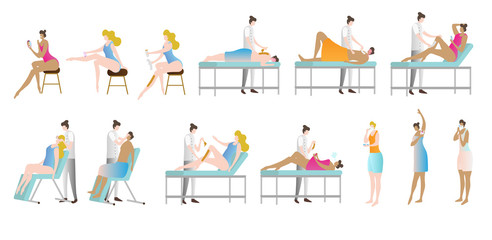 Epilation and depilation vector illustration collection set. Woman in beauty saloon sitting, lying, or standing to shave legs, armpits or eyebrows. Cosmetic procedure.