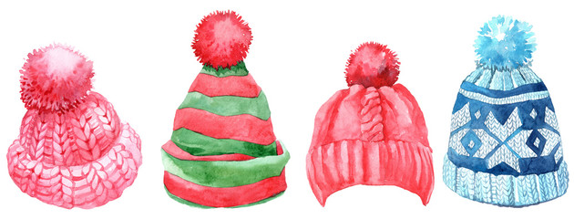 Watercolor winter hats set, isolated on white background.