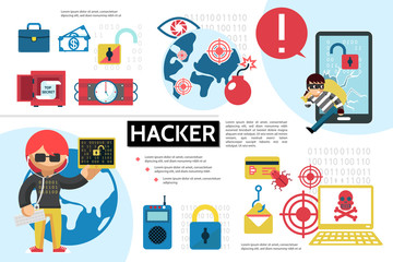 Flat Hacking Infographic Concept