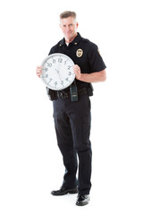 Police: Officer Holds Up Clock For Time Related Themes