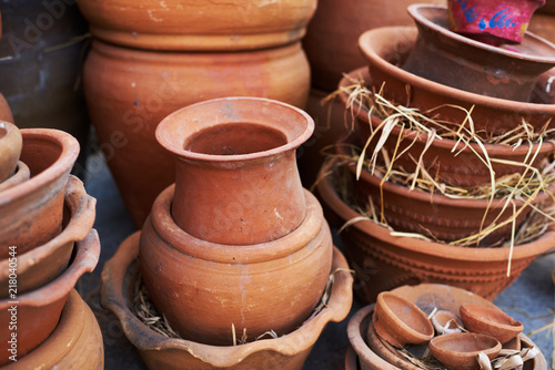 Handmade Ceramic Vases Clay Pots Stacked For Sale Pottery Making