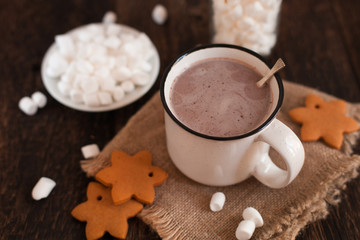 Mug of hot chocolate or cocoa with Christmas cookies and marsmallow