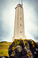 Garden Poster Lighthouse White lighthouse on the extreme west coast of Iceland.
