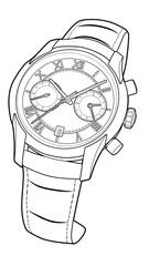 wrist watch vector sketch simple line illustration