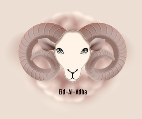 Eid al Adha text greeting card ram head of sheep. Feast of Sacrifice