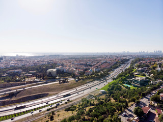 Aerial View of Uskudar Camlica Highway in Istanbul Turkey