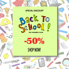 Back to school sale flyer card. Sale pattern template. Seamless pattern element on background. Doodle sketches hand drawn vector.