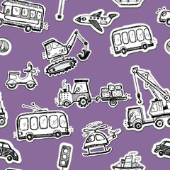 Funny cars seamless pattern. Doodle sketch inked illustration.