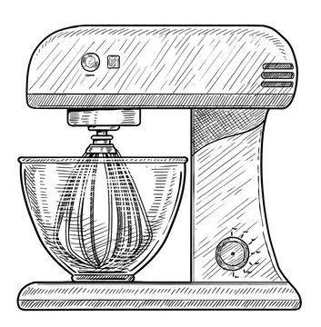 Stand food mixer illustration, drawing, engraving, ink, line art, vector