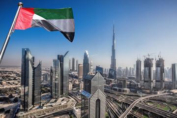 Dubai skyline with futuristic architecture, United Arab Emirates