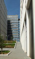 modern pedestrianized urban landscape of tall commercial developments behind leeds beckett university