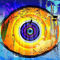 abstract human eye, retro style vector art, grungy structure