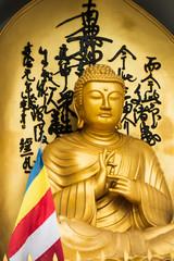 Golden Buddha statue and buddhist flag
