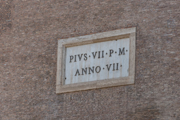 Exterior of the Colosseum in Rome, east side, with Pius VII P M - Anno VII sign