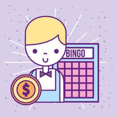 casino croupier male bingo game dollar coin vector illustration