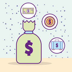 money bag banknote coin and suitcase dollar vector illustration