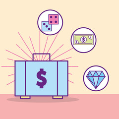 money suitcase dices banknote diamond treasure vector illustration cartoon