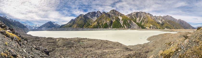 New Zealand, South Island, panoramic view of Tasman Valley with Aoraki Mount Cook and Tasman Lake