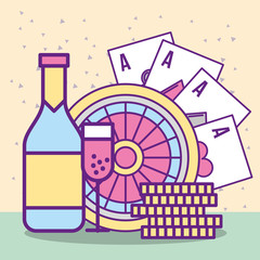casino roulette cards aces coin bottle champagne glass cup vector illustration