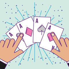 hands with poker aces cards cartoon casino vector illustration