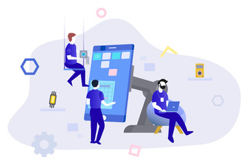 Phone repair service banner template. illustration with workers and equipment.