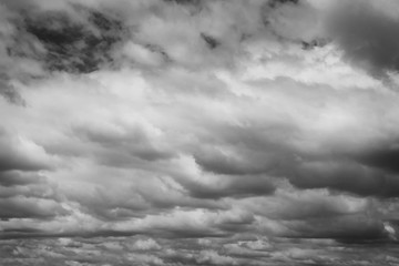 Rain clouds sky background.Clouds become dark gray begin rainfall.