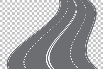 Vector winding four-lane road isolated on transparent background. Vector EPS 10.