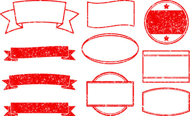 Big set of red grunge templates for round rubber stamps and ribbon banners.