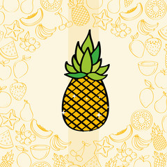 pineapple fruits nutrition background pattern vector illustration