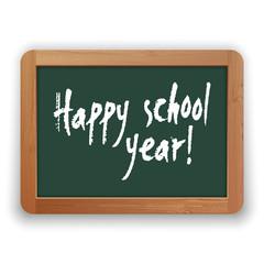 Vector Happy School Year on Green Blackboard