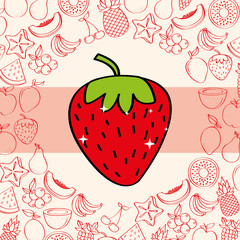 strawberry fruits nutrition background pattern vector illustration