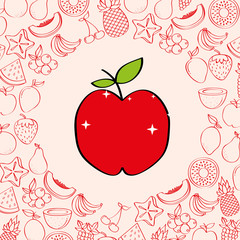 apple fruits nutrition background pattern vector illustration