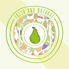 pear fresh and natural fruits food label vector illustration