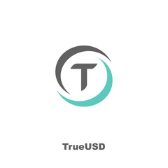 TrueUSD Cryptocurrency Coin Sign Isolated