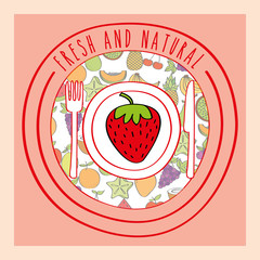 strawberry fresh and natural fruits food label vector illustration
