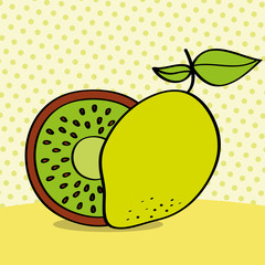 fresh kiwi and lemon on dotted background vector illustration