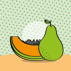fresh papaya and pear on dotted background vector illustration