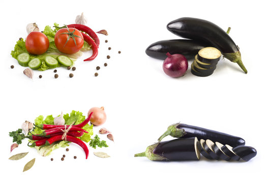 Red tomato and green cucumber. Bitter pepper with herbs and yellow pepper on a white background. Eggplant on a white background. Fresh vegetables on a white background. Red tomato and green cucumber.