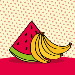 fresh watermelon and bananas on dotted background vector illustration